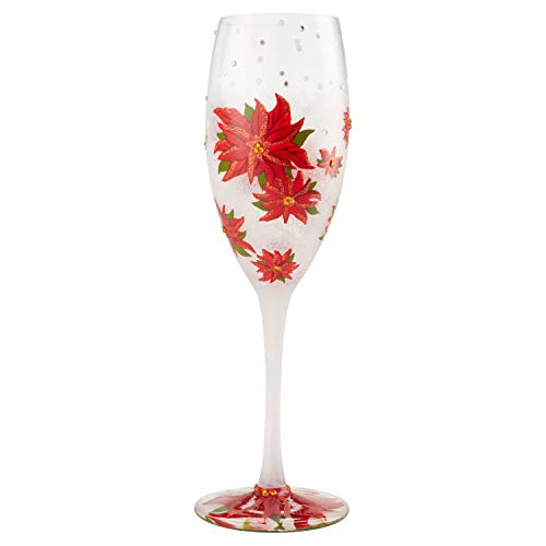 Enesco 6004438 Designs by Lolita Poinsettias in Snow Prosecco Glass Champagne Flute, 8 Ounce, Multicolor (Painted Hand Champagne Flutes)