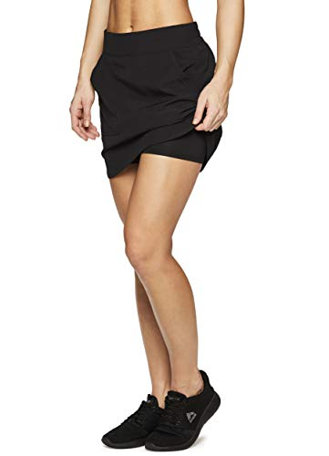 RBX Active Women's Golf/Tennis Athletic Skort with Bike Shorts and Pockets Spring Black L