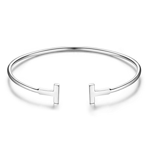 SHEGRACE Bangle 925 Sterling Silver Cuff Bangle for Girls with Wiredrawing Alphabet T, Silver ()