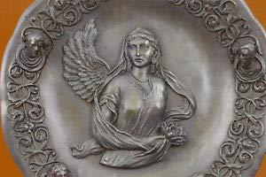(LuxMart Bas Relief Angel Bronze Sculpture Guardian Protector Religious Belief Statue)