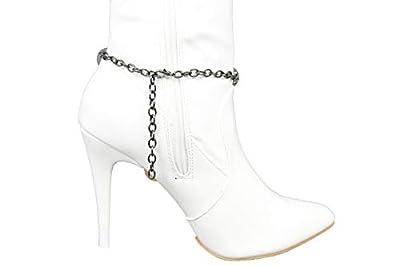 TFJ Women Western Fashion Jewelry Boot Chain Silver Bracelet Metal Shoe Anklet Bling Purple Flower Charms
