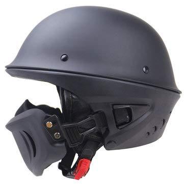 Zombies Racing DOT Rogue Half Helmet Motorcycle Retro Locomotive Detachable Mask Matte Black - Motorcycle Motorcycle Helmet - (XXL) - 1 X Zombies Racing DOT Rogue Half Helmet Motorcycle -
