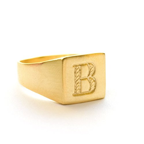 Handmade Designer Unisex 14K Gold Plated Square Signet Seal Ring Personalized with Engraved Letter