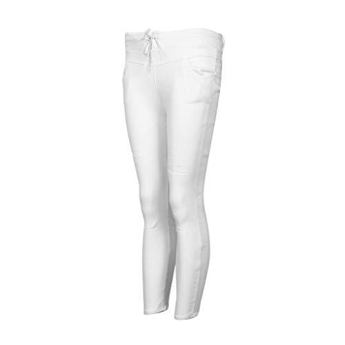 Pantaloni Size plus Elastico Vita Tagliuzzati Jeans Estate Pantalone Pantaloni A Lunghi Abbigliamento Casual Bianco Alta Donna Moda skinny Nove Slim Tagliuzzati qxZf6Xw4v
