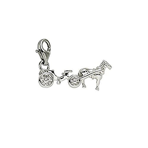14k White Gold Carriage Charm With Lobster Claw Clasp, Charms for Bracelets and Necklaces