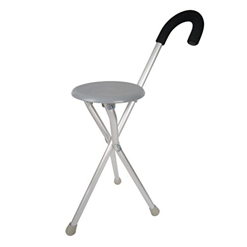Travelon Walking Seat and Cane in One, Grey, One Size - Cane Folding Stool