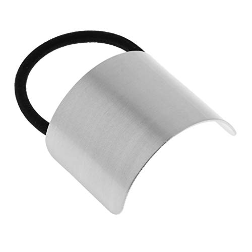 Fityle Women's Chic Ponytail Cover Hair Elastic Metal Band Cuff Ring Holder Hair Accessories - Silver ()