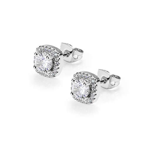 18K Yellow Gold/Silver Plated Iced Out Round Cubic Zirconia Hypoallergenic Stud Earrings for Women Men Hip Hop Jewelry (Silver-White Stone)