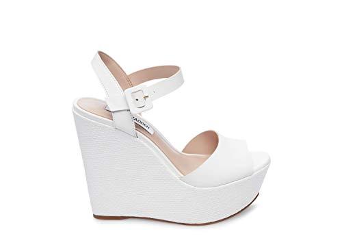 (Steve Madden Women's Citrus Wedge Sandal White Leather 7 M US)