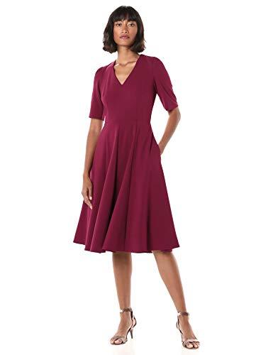 Donna Morgan Women's Stretch Crepe V-Neck Dress, Mulberry, 12