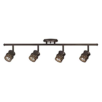 Globe Electric Norris 4-Light Track Lighting, Bronze, Oil Rubbed Finish, Champagne Glass Track Heads, Bulbs Included 59063