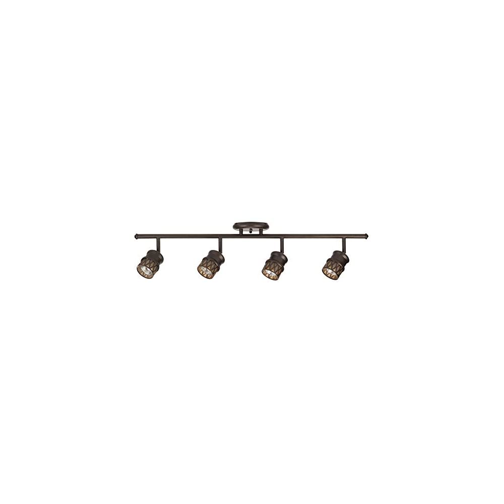 Globe Electric 59063 Norris 4-Light Track Lighting, Bronze, Oil Rubbed Finish, Champagne Glass Track Heads, Bulbs…
