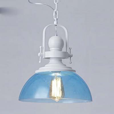 Industrial Blue Transparent Glass Pendant Light-LITFAD 12