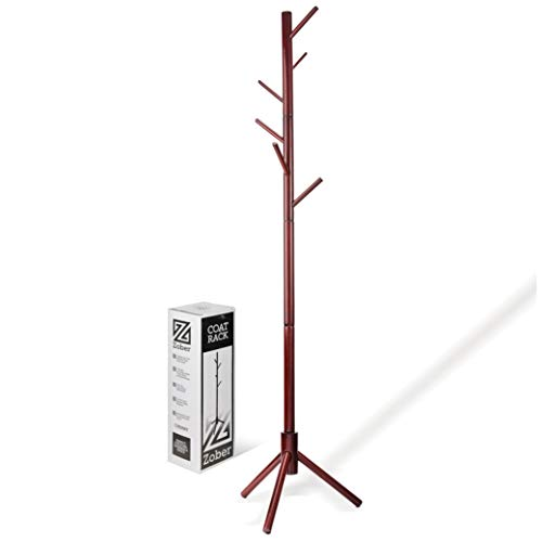 High-Grade Wooden Tree Coat Rack Stand, 6 Hooks - Super Easy Assembly NO Tools Required - 3 Adjustable Sizes Free Standing Coat Rack, Hallway/Entryway Coat Hanger Stand for Clothes, Suits, Accessories ()