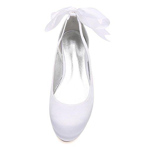 Satén Boda Para La Jane Silver 20 Heel Mujer High Nupciales Toe De Zapatos Lazo yc Peep Bombas L Cinta 5049 fwOTYY