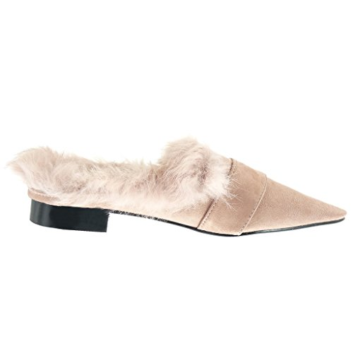 Doré Boucle Mocassin on Bloc Fourrure Chaussure Talon Slip Cm Angkorly Mode Rose 2 Femme w08qAW4