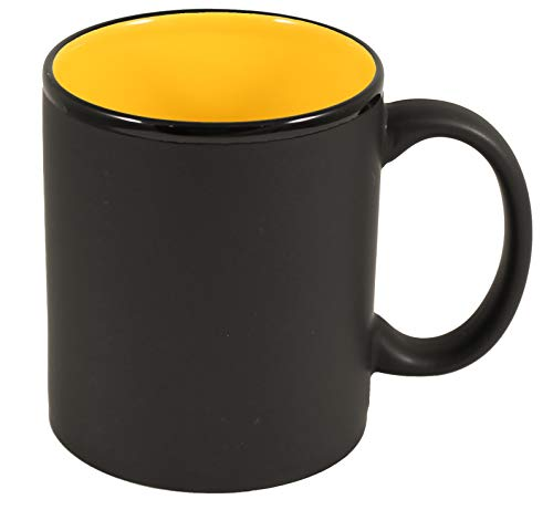 (ITI Ceramic C-Handle Hilo Coffee Mugs with Pan Scraper, 11 Ounce (6-Pack, Yellow))