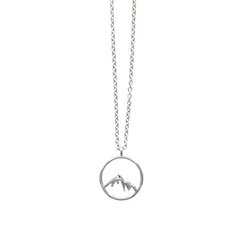 Pura Vida Sierra Silver Necklace - Mountain Design - Brass Base Rhodium Plating - 16 Inches w/Extender