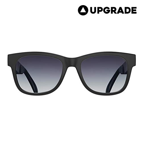 VocalSkull Alien 5 Bone Conduction Glasses Polarized Sunglasses Headphones Headset Music Stereo Hearing Aid for Sports Running Cycling Hiking IOS Android Matted Black Frame (Gray)