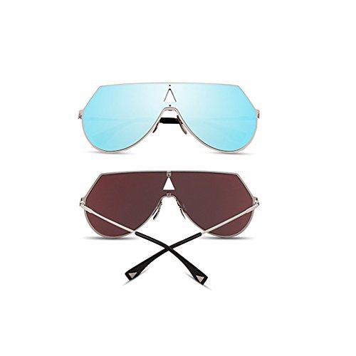 De Sol Color La Pieza Coloridas La Gafas Gafas Sol De De Plata Azul Reflexivas Hombres Para Gafas Sol WANGXIAOLIN De Personalidad Una De HF7WREfq