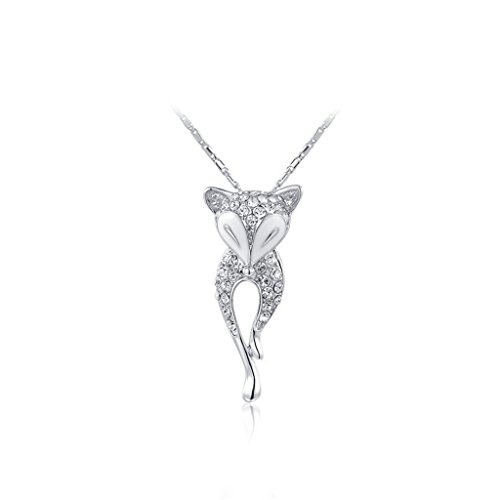 [White Gold Austrian Crystals Fox Pendant Necklace 18