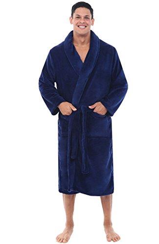 Mens Fleece Robe, Shawl Collar Bathrobe, 1XL 2XL Navy Blue (A0114NBL2X) ()