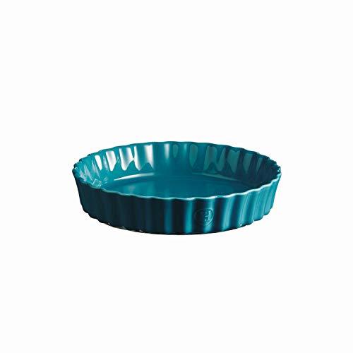 Emile Henry 606024 Deep Flan, Mediterranean Blue Quiche Dish, 1.2 qt, ()