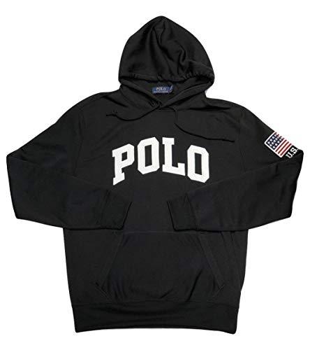 Polo Ralph Lauren Men's Twill Polo Logo Flag Patch USA Hoodie (Black, Medium) (Usa Polo Ralph Lauren)