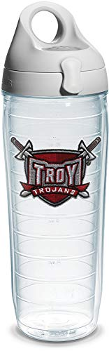 Tervis Troy University Sword Emblem Individual Water Bottle with Gray Lid, 24 oz, Clear - 1073701