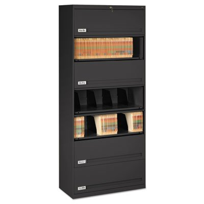 Closed Fixed Shelf Lateral File, 36w x 16 1/2d x 87h, Black, Sold as 1 Each