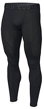 Tesla Men's Compression Pants Baselayer Cool Dry Sports Tights Leggings MUP19-KLB (X-Small) Black