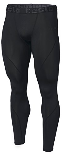 TSLA TM-MUP19-KLB_X-Large Men's Compression Pants Baselayer Cool Dry Sports Tights Leggings MUP19 ()