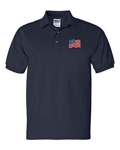 American Flag Custom Personalized Embroidery Embroidered Golf Polo Shirt