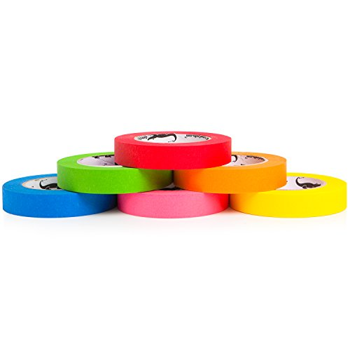 Colored Masking Tape Kids Craft Set | 6-PACK 1 Inch x 60 Yard Rolls | Multi Colored Variety Kit - Assorted Color Coded & Fun DIY Art Supplies- Kids Toddlers ages 2, 3, 4, 5, 6, 8, 9, 10 12 n years old