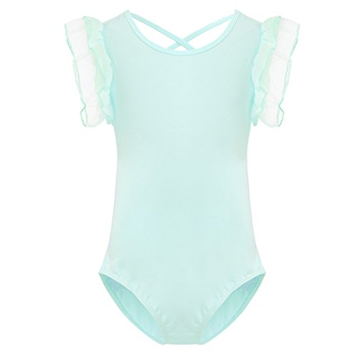 iiniim Kids Girls Ruffle Short Sleeve Gymnastics Ballet Dance Leotard Fairy Princess Dancewear Costumes Mint Green 3