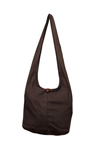 Messenger Cotton Color Sling Brown Hobo Solid Bag Avarada Purse Hippie Plain Thai Crossbody Bohemian xgvqqaAU