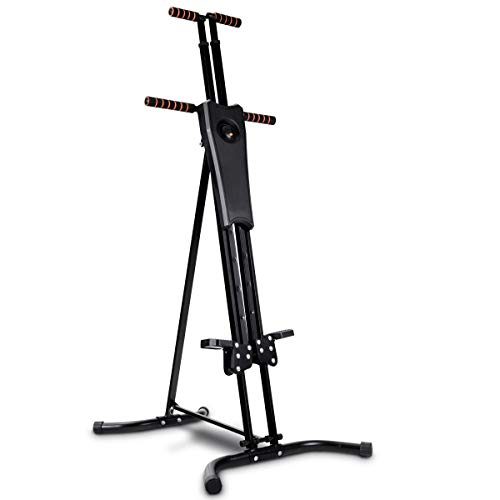 GYMAX Step Machine, Folding Stepper Vertical Climber Climbing Machine, for Workout Fitness Cardio Exercise, with Adjustable Height LCD Display