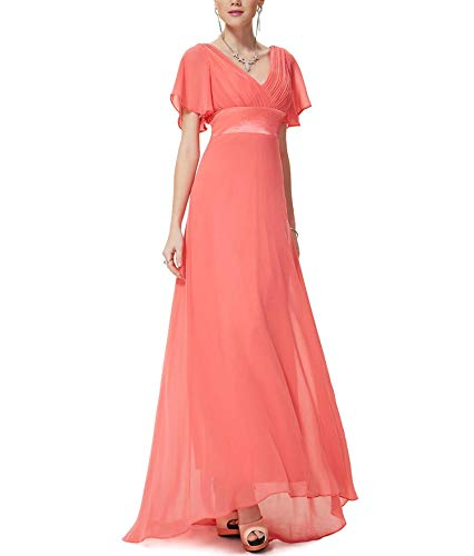 - Evening Dresses Padded Trailing Flutter Sleeve Long Women Gown Chiffon Summer Style Special Occasion Dresses,Coral,16,United States