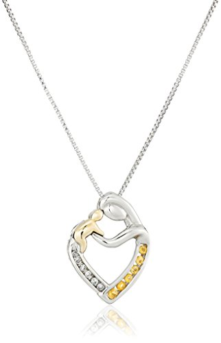 Sterling Silver and 14k Yellow Gold Citrine and Diamond Mother's Jewel Heart Pendant Necklace, - Gold Citrine Heart