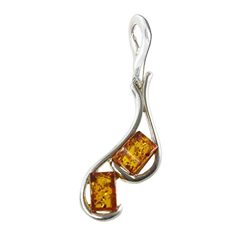 HolidayGiftShops Sterling Silver and Baltic Amber Pendant Isabella