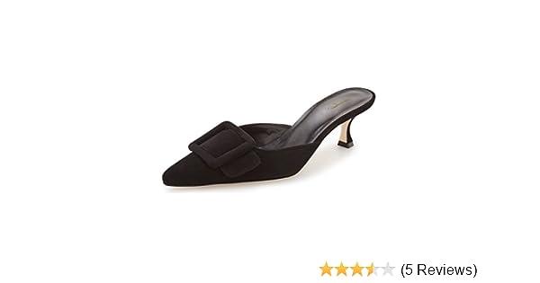 cc089435b Amazon.com   XYD Women Mule Pointy Toe Sandals Suede Slip on Low Kitten  Heel Buckle Slide Shoes Size 10 Black   Mules & Clogs