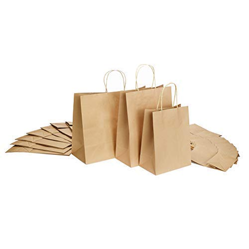 GSSUSA 8x4.75x10-10x5x13-16x6x12- Halulu Brown Kraft Paper Bags, Shopping, Mechandise, Party, Gift Bags- 50Pcs Each Size]()
