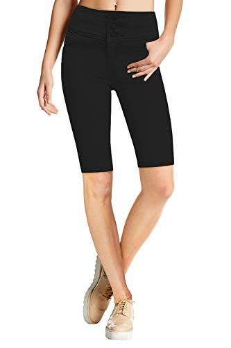 HyBrid & Company Womens Super Stretch 5 Button Hi Waist Skinny Shorts B45074SKX Black ()