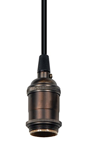 Satco Cast Brass Dark Antique Keyless Socket with Rayon Black Wire - (Antique Wire Rayon)