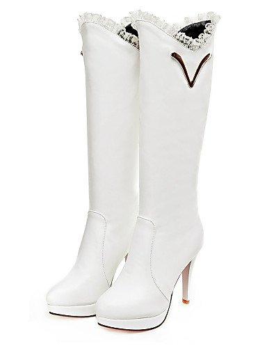 Moda Zapatos 5 A us10 La Eu42 Redonda Cn43 Mujer Tacón Blanco White 5 Cn35 Negro Punta Plataforma 5 Uk3 Eu36 De Botas Vestido us5 5 Black Uk8 Semicuero Xzz Stiletto Pdq44