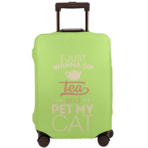 Travel Suitcase Protector I Just Wanna Sip Tea And Pet My Cat Washable Print Luggage Cover -