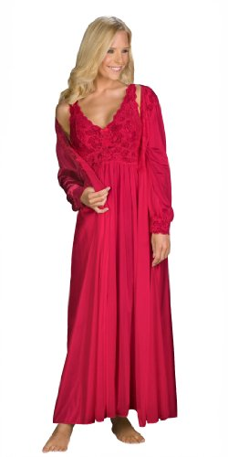 Shadowline Silhouette Gown and Peignoir Set (51737), Red, 1X