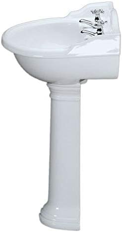 Traditional Bathroom Two Tap Holes Round Wash Sink Basin and Full Pedestal