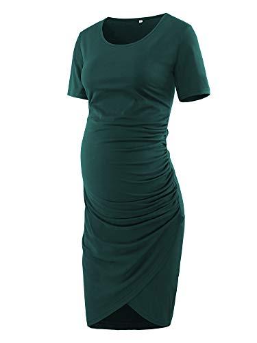 (Love2Mi Women Short Sleeve Maternity Tulip Midi Dress Crew Neck Wrap Hem Fitted Dress)