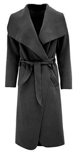 Thever Women Ladies Celb Long Sleeve Wool Wrapped up Draped Belted Coat Cape (One SZ(6-12), Black)